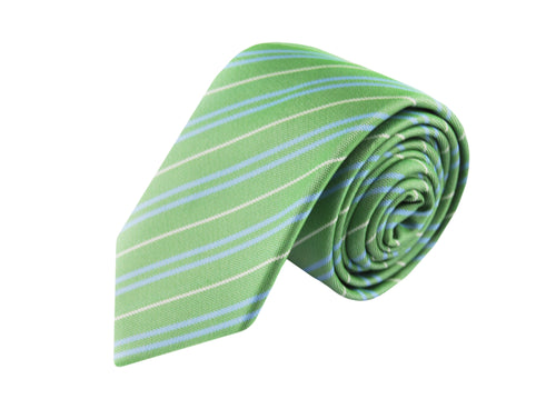 Basket weave green striped 3 folds tie jacquard - Loano