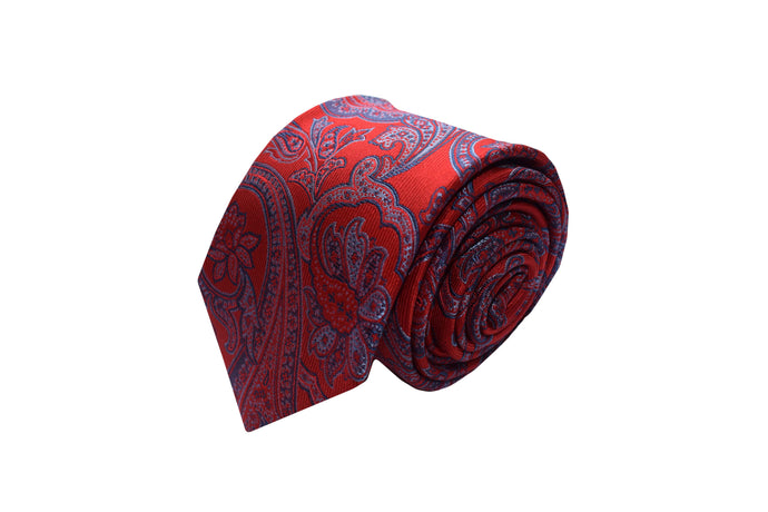 3 folds red paisley tie Jacquard - Torregrotta