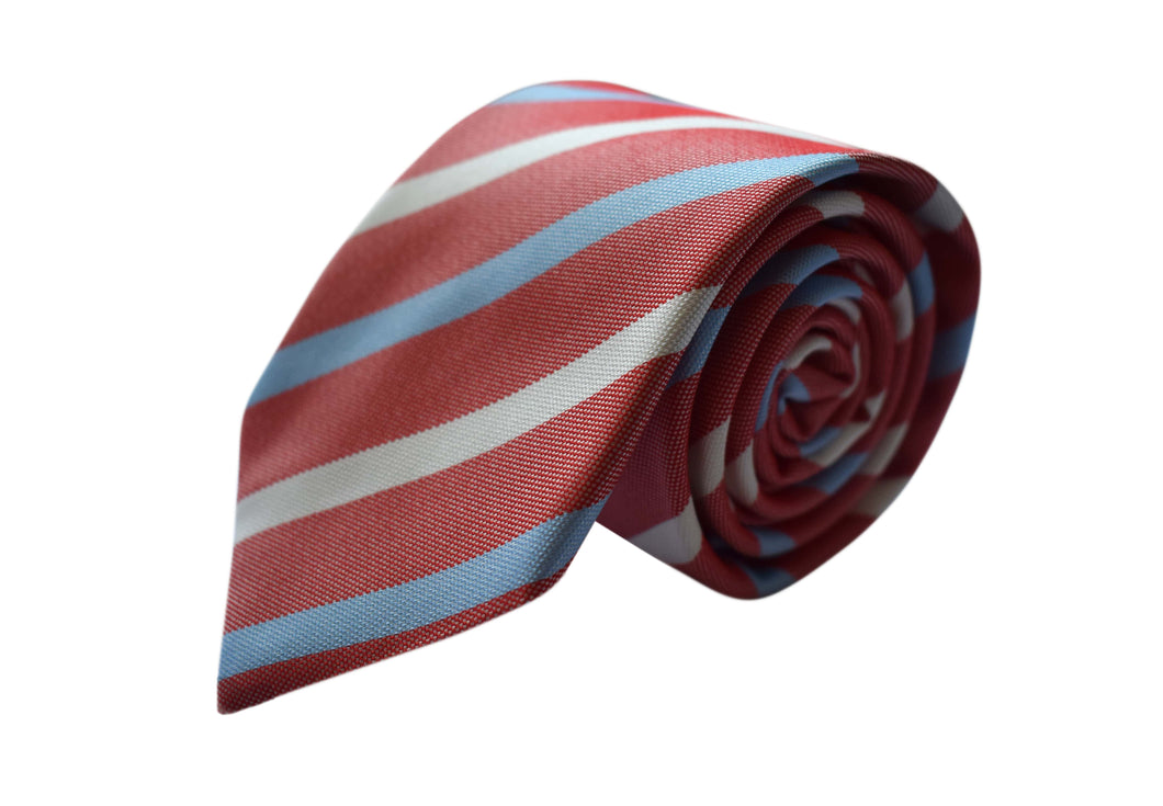 Basket weave red striped 3 folds tie jacquard - Pieva