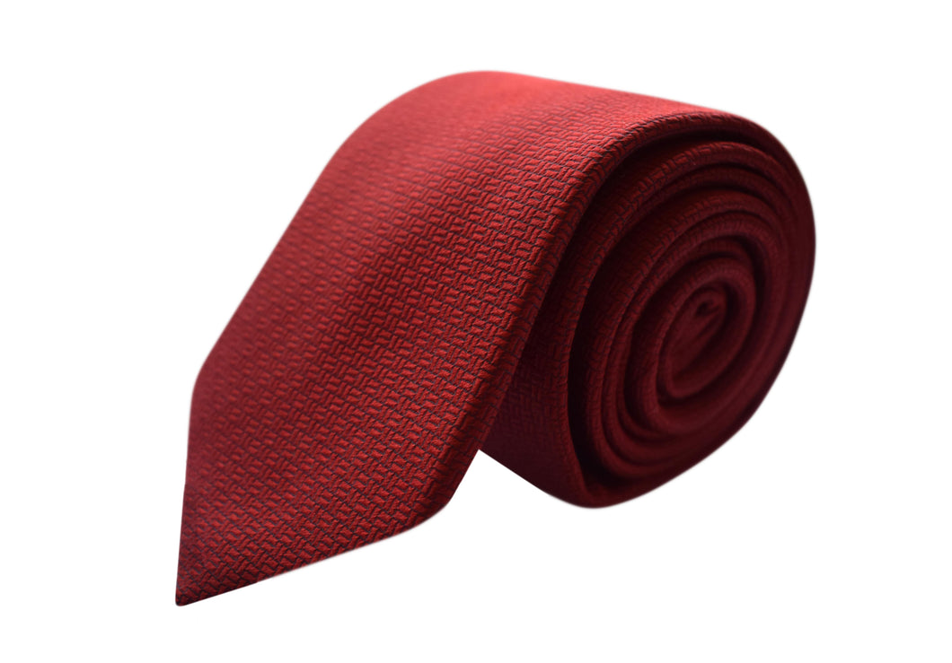Ton on ton motif red 3 folds tie jacquard - Modena
