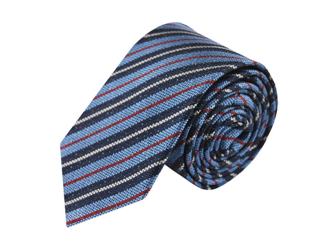 Image of Basket weave navy striped 3 folds tie jacquard - Varazze