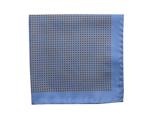 Micro dots Pocket Square Light blue with brown dots - Amalfi