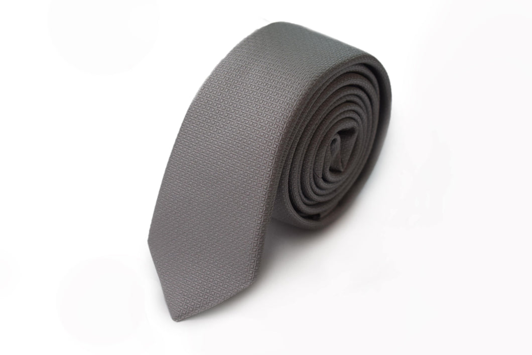 Slim 3 folds solid grey tie jacquard - Gallio