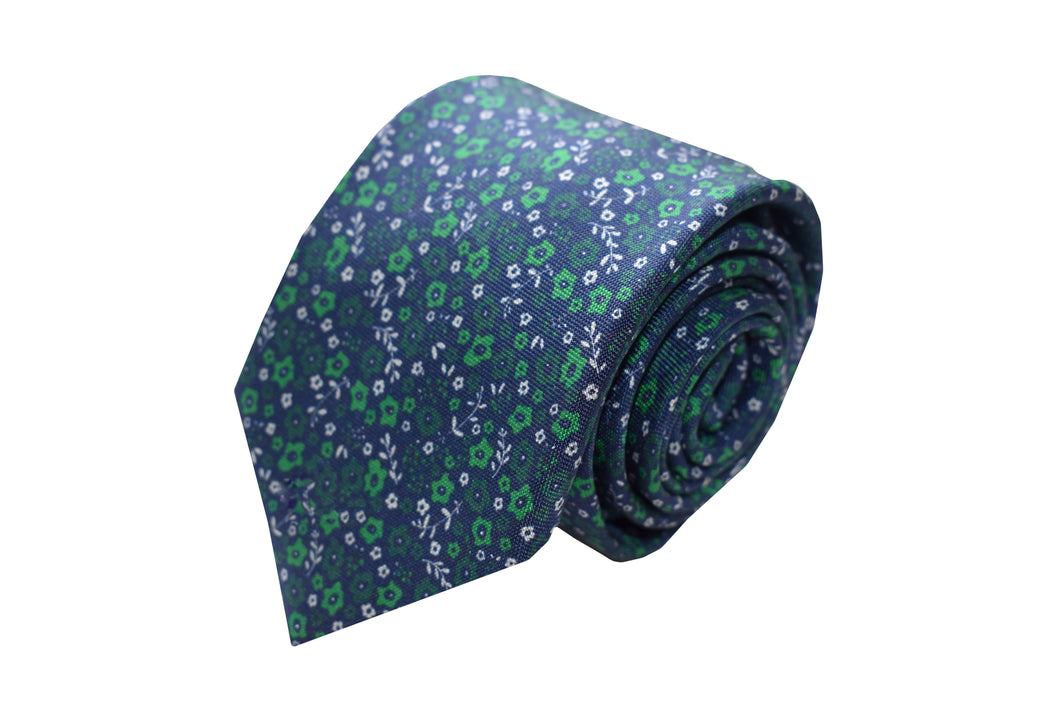 3 folds navy & green flower tie printed - Shoreditch