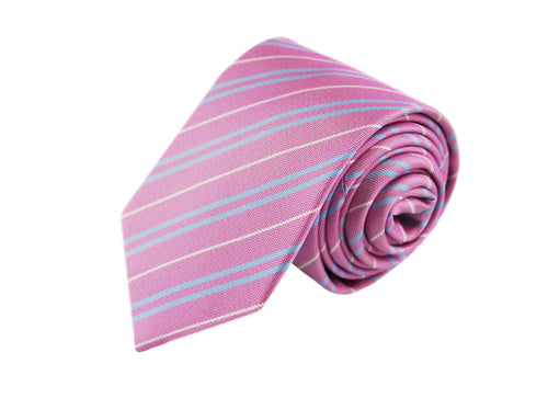 Basket weave pink striped 3 folds tie jacquard - Loano