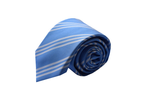 3 folds regimental light blue tie jacquard - Nizza