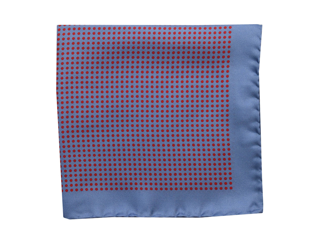 Micro dots Pocket Square Light blue with red dots - Amalfi