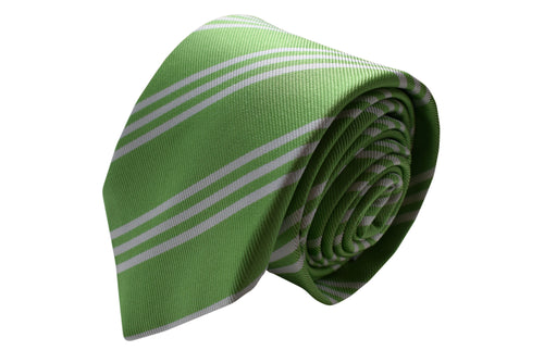3 folds green stripped tie Jacquard - Nizza