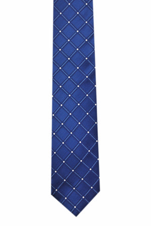 Tartan blue 3 folds navy tie jacquard - Isola bella