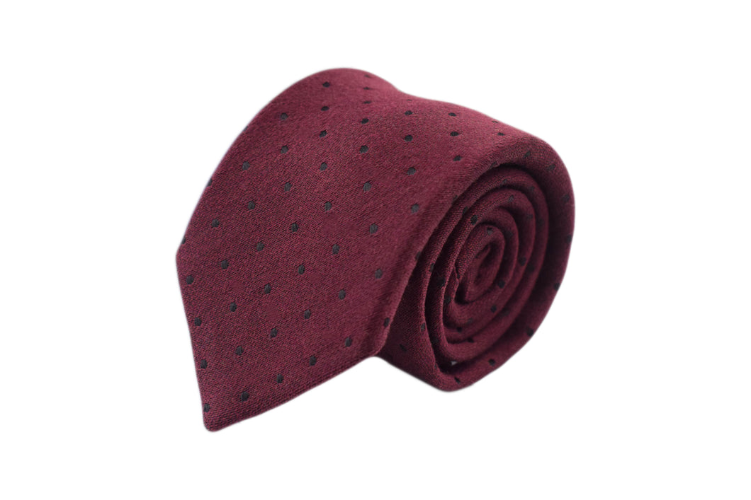 3 folds tie burgundy polka dots silk & wool jacquard - Soho