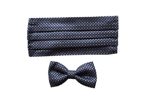 Set of silk navy classic bow tie and silk face mask - Arese