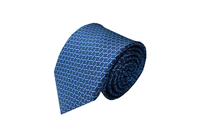 3 folds navy tie Printed - Covent Garden