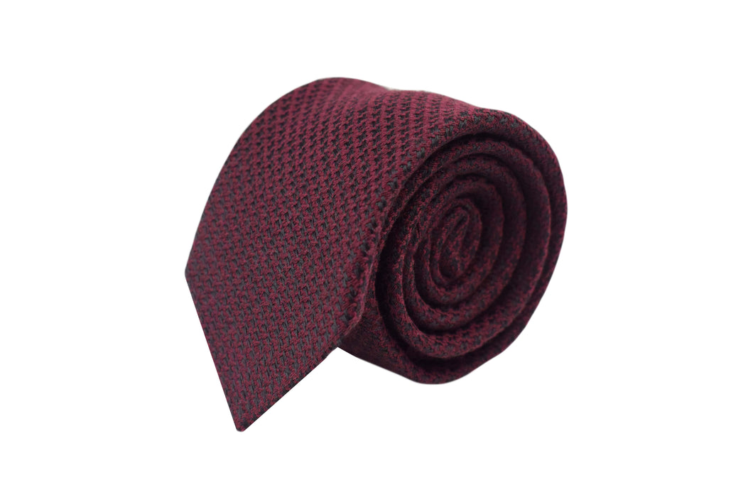 3 folds Tie burgundy pied de poule Silk & Wool jacquard - West End