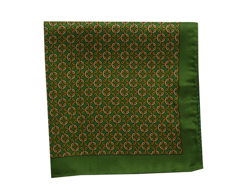 Heraldry Green Pocket Square