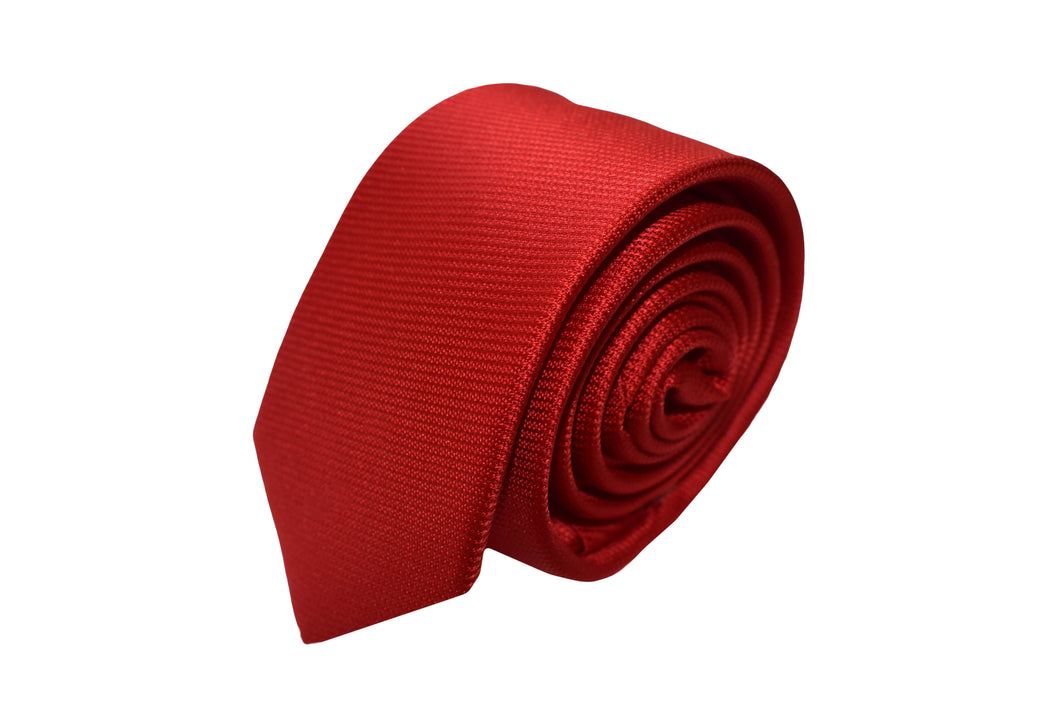 3 folds red solid tie Jacquard - Lucerna