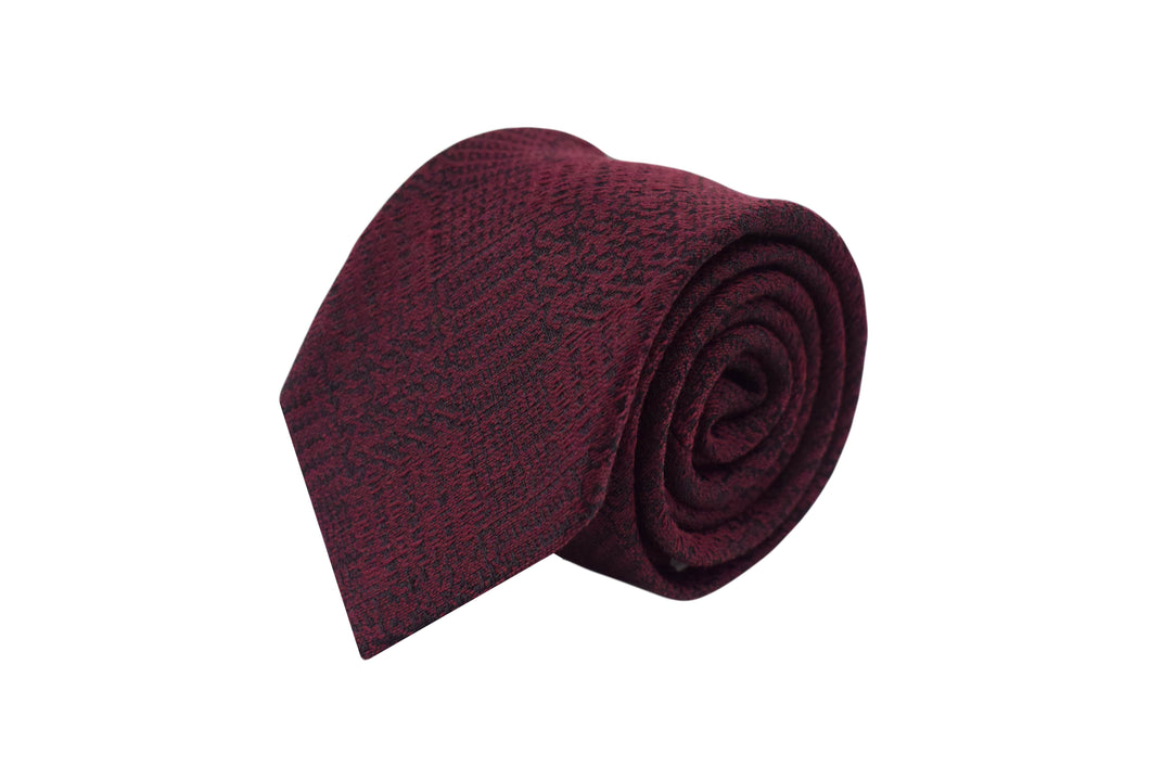 3 folds Tie burgundy tartan silk & wool Jacquard - Old town
