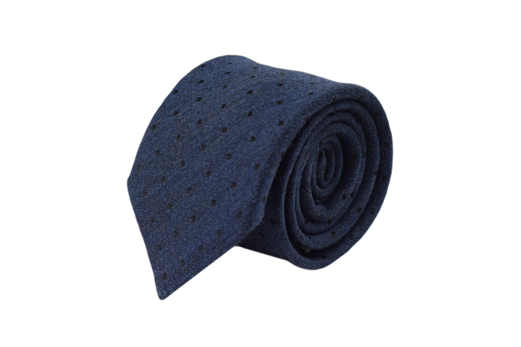 3 folds tie blue polka dots silk & wool jacquard - Soho