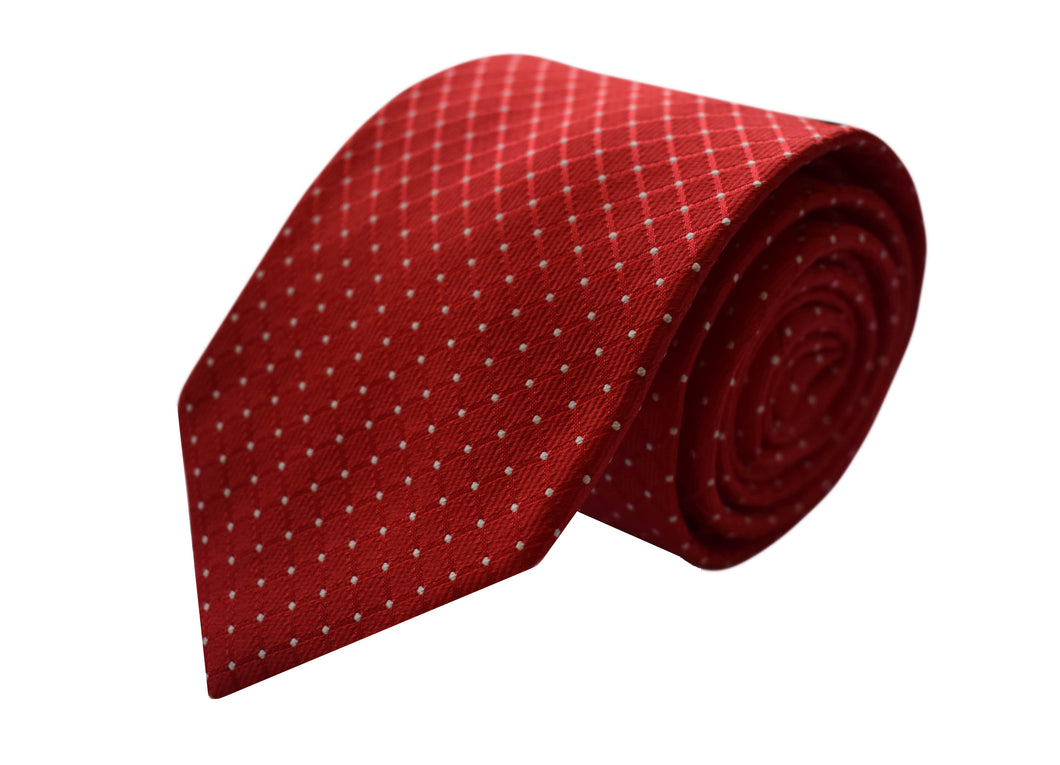 Classic Red 3 folds tie jacquard - Soliera