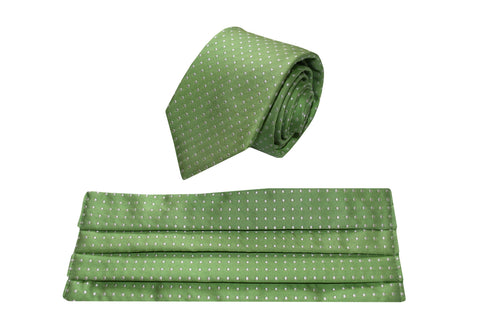 Set of silk green small white polka dots tie and silk face mask