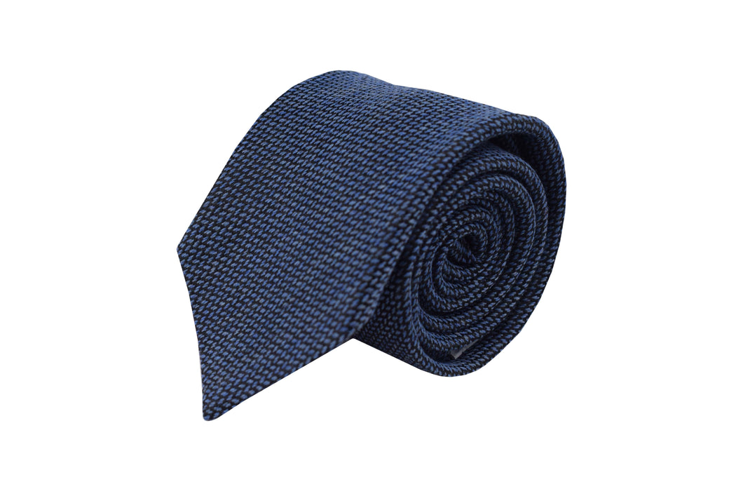 3 folds tie light blue classic silk & wool jacquard - Slateford