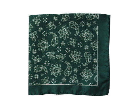 Image of Paisley green Pocket Square - Bivona