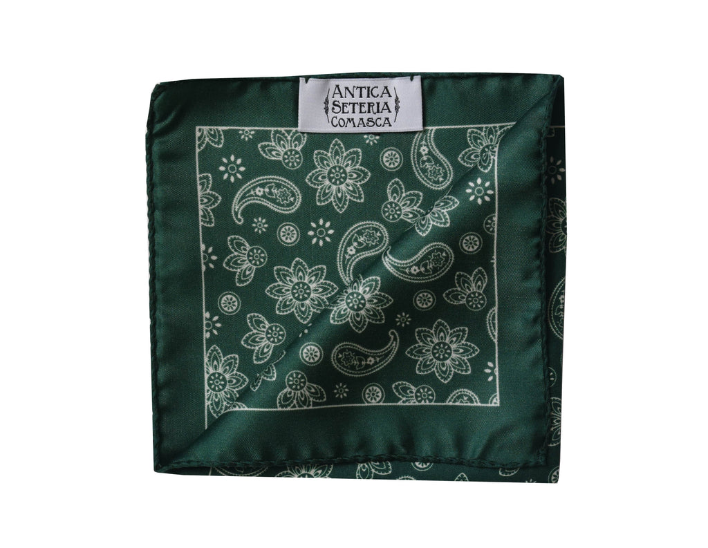 Paisley green Pocket Square - Bivona