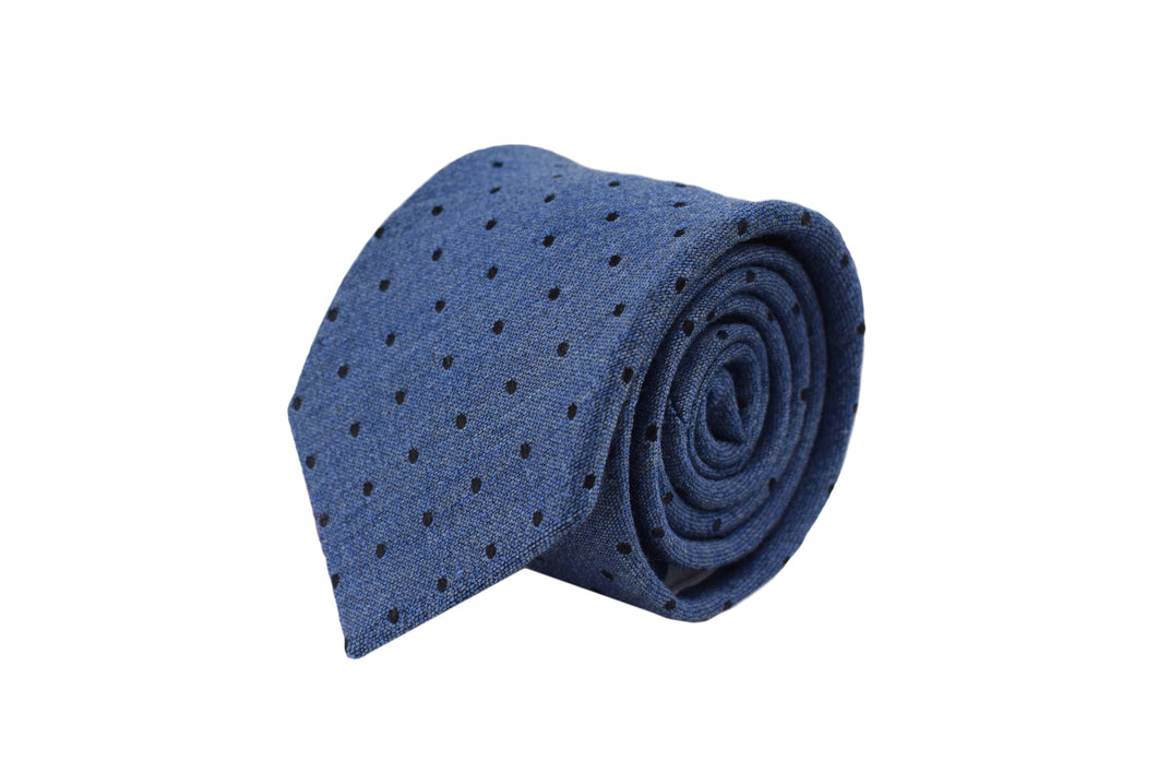 3 folds Tie light blue polka dots silk & wool jacquard - Soho