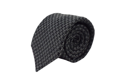 3 folds Tie grey pied de poule Silk & Wool jacquard - West End