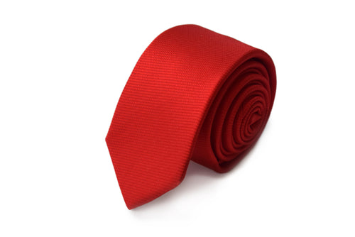 Slim 3 folds solid red tie jacquard - Milano II