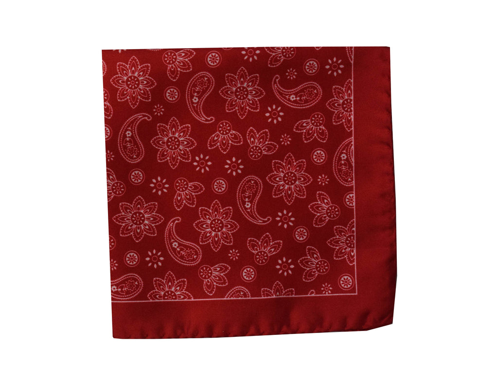 Paisley red Pocket Square - Bivona