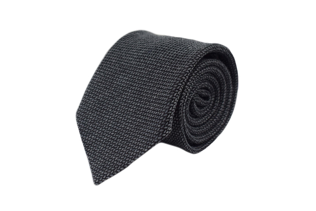 3 folds tie grey classic silk & wool jacquard - Slateford