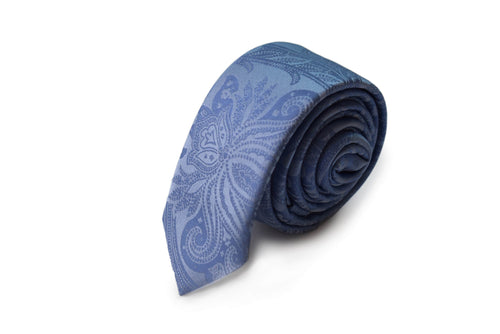 Slim 3 folds paisley light blue tie jacquard - Cosenza