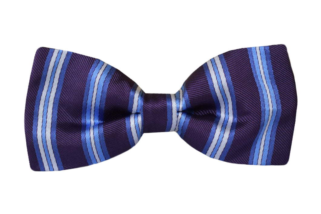Striped Pretied Bow tie purple - Aosta
