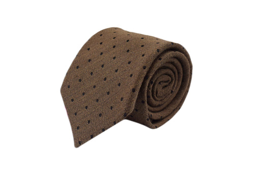 3 folds Tie light beige polka dots silk & wool jacquard - Soho