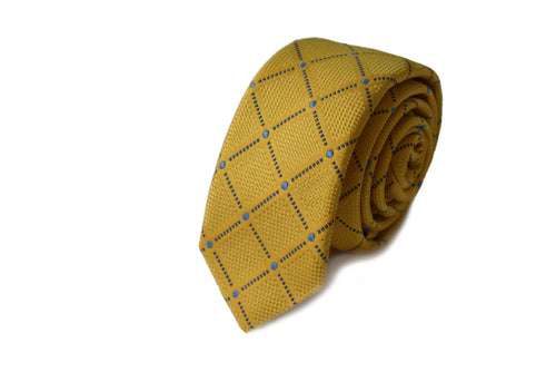 Slim 3 folds check yellow tie jacquard - Isola bella