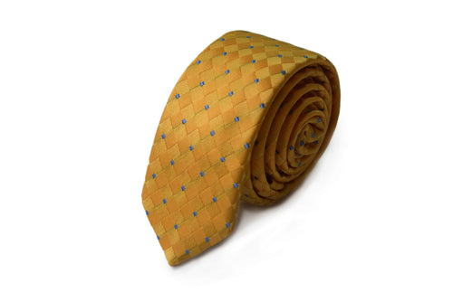 Slim 3 folds classic yellow tie jacquard - Paceco
