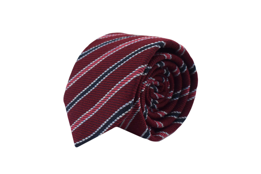 3 folds tie striped red silk & wool jacquard - Newington