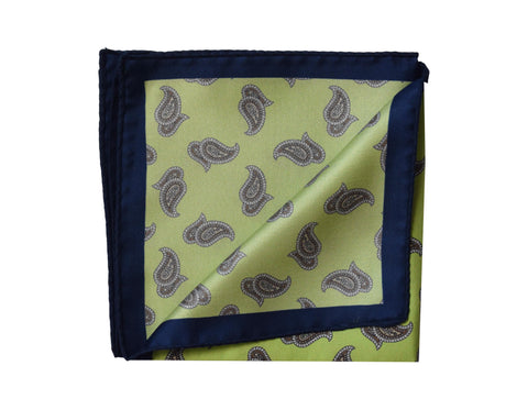 Image of Classic Paisley green Pocket Square - Capo d'Orlando