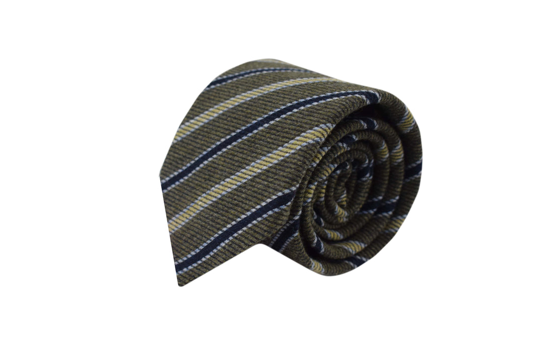 3 folds tie striped green silk & wool jacquard - Newington