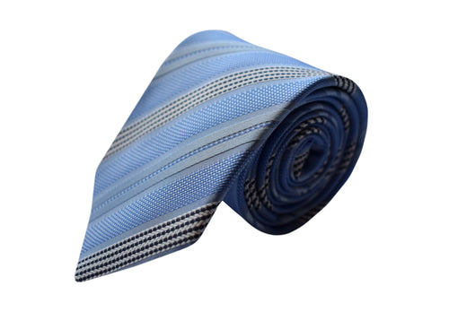 3 folds striped light blue tie - Airolo