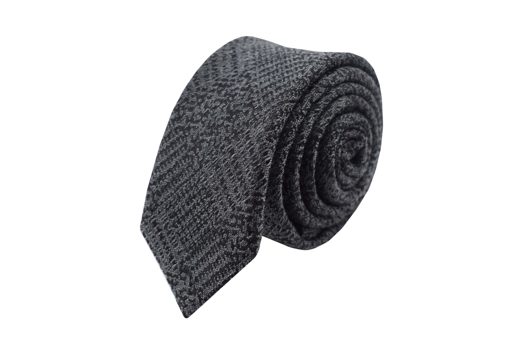 Slim 3 folds tie grey tartan silk & wool jacquard - Old town