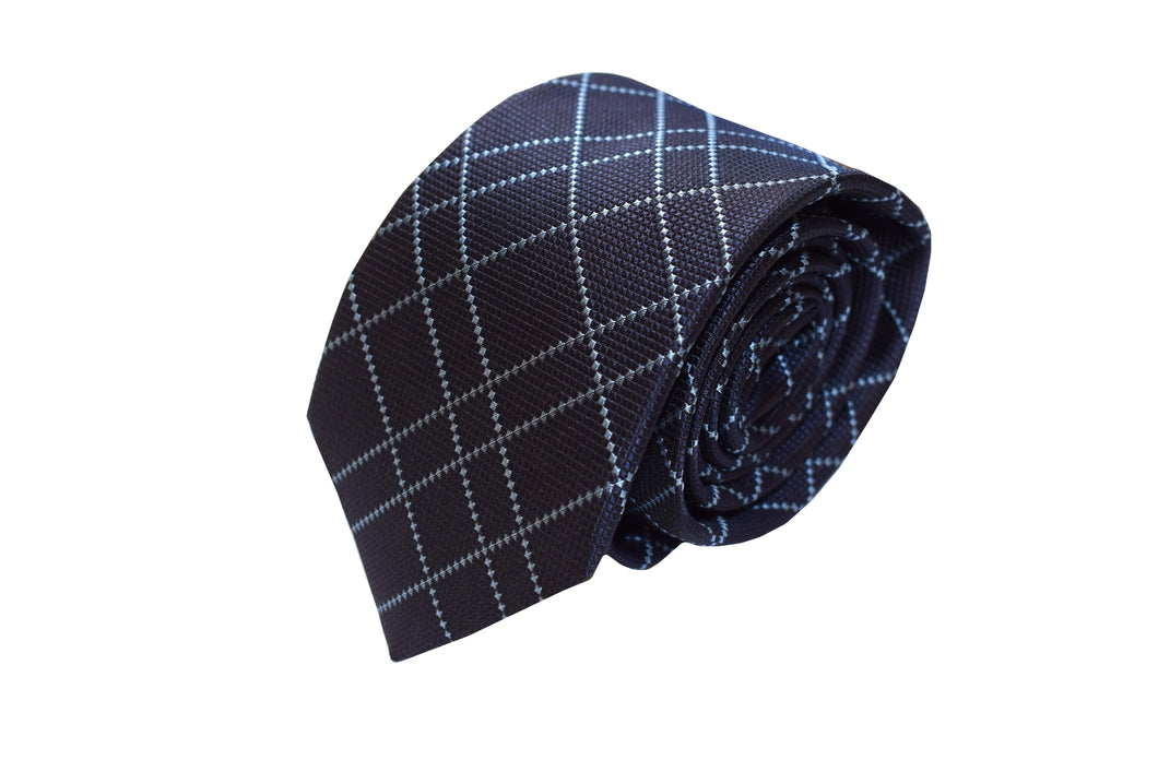 3 folds navy & light blue tartan tie jacquard - Hawley