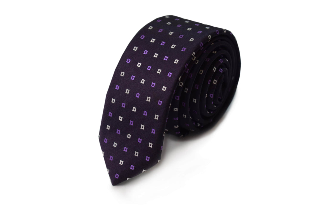 Slim 3 folds classic purple tie jacquard - Fracallini