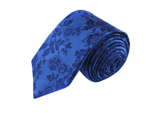 Flower 3 folds blue tie jacquard - Milo