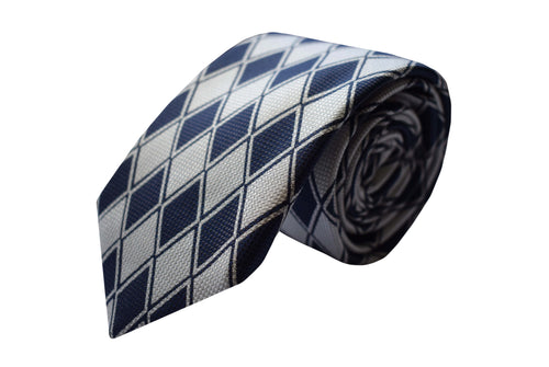 3 folds navy and white tie - Leyton