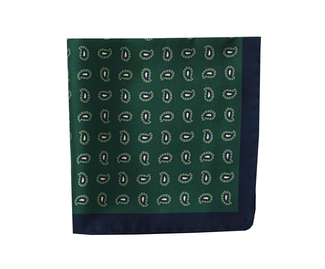 Paisley green Pocket Square - Ragusa