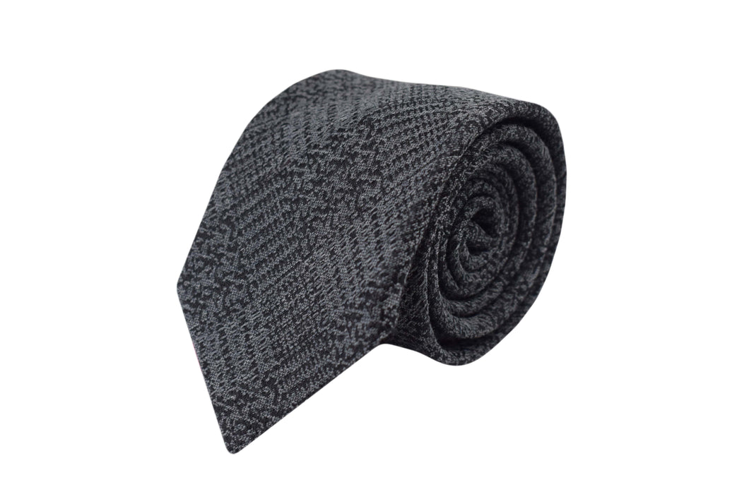 3 folds Tie grey tartan silk & wool Jacquard - Old town
