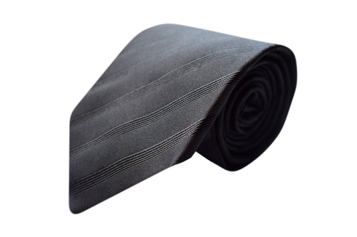 3 folds grey striped tie - Loreto