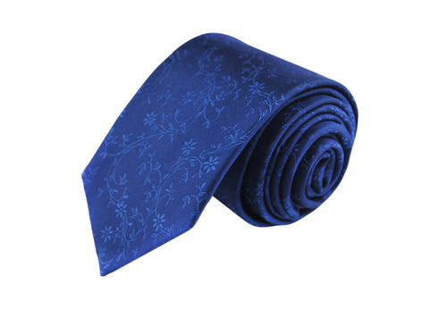 Image of Flower 3 folds blue tie jacquard - Nicolosi