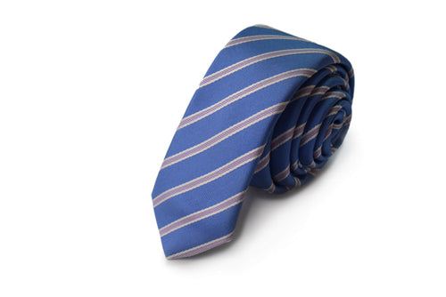 Slim 3 folds striped light blue tie jacquard - Odescalchi